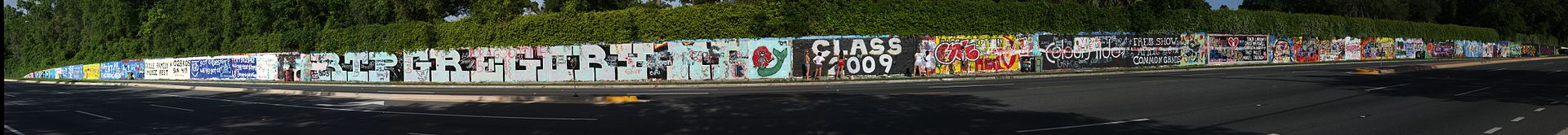 The SW 34th Street Wall in Gainesville, FL has been sporting student graffiti since 1979.
