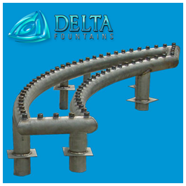 Delta Fountains Curved Spray Bar and Header