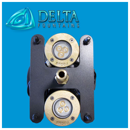 Fountain Light and Nozzle Stand top view | Delta Fountains