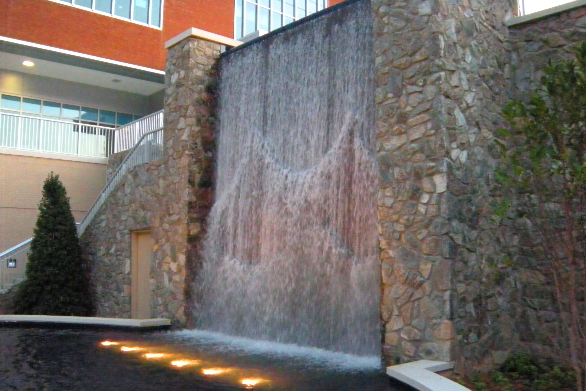 Mission Hospital Courtyard Water Wall Landscape Architecture