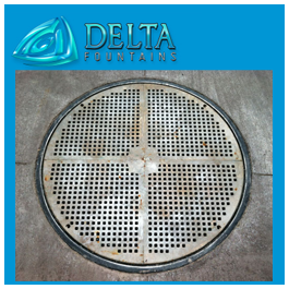 Nickel Plated Bronze Fountain Grate Round