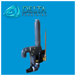 Pop jet with foam jet nozzle delta fountains