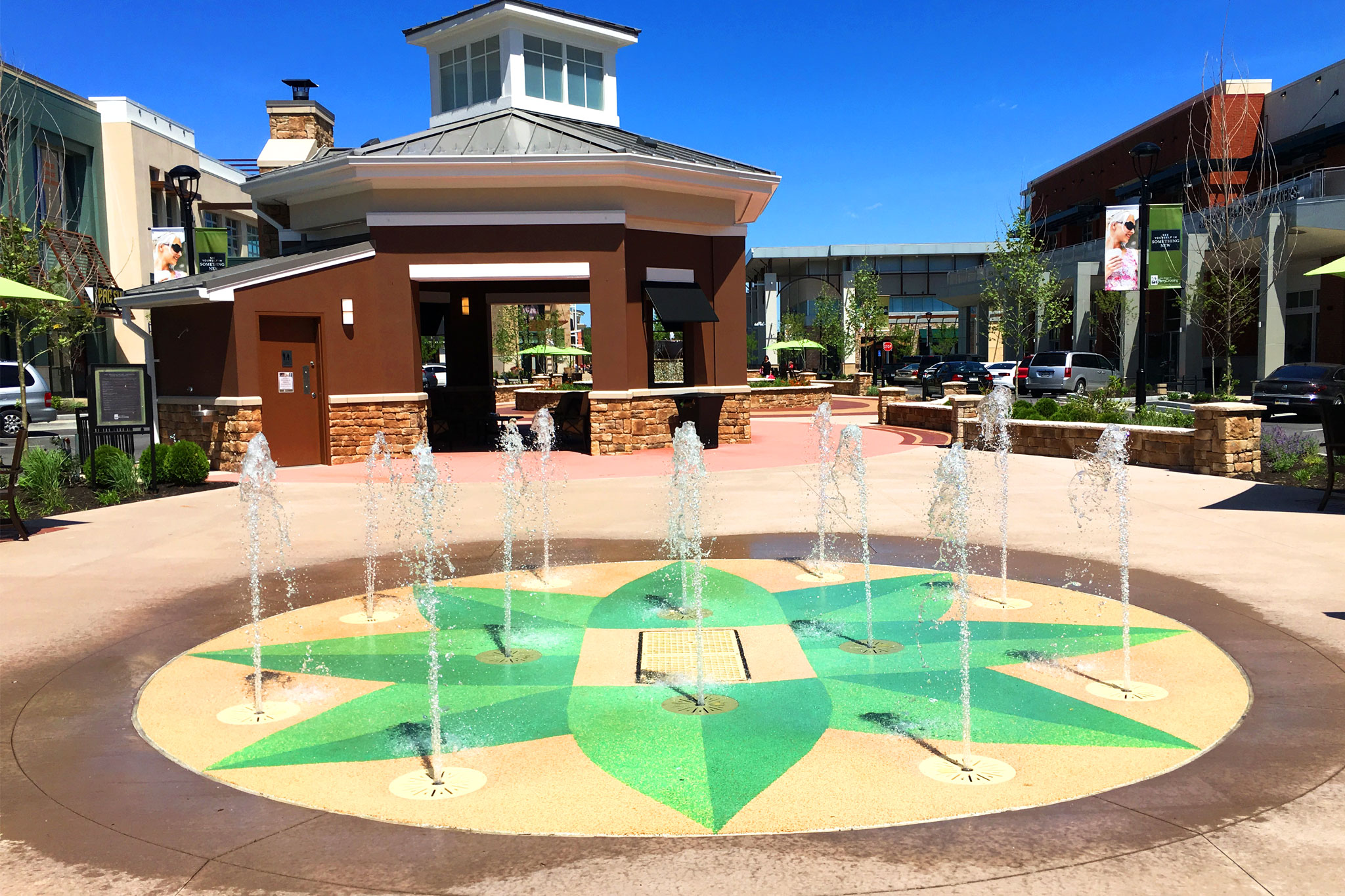 Splash Pad in Retail Landscape Architecture Design
