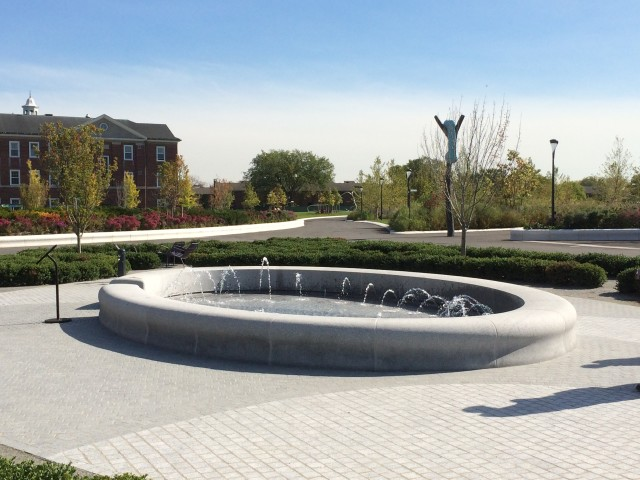 Governor's Island's interactive fountain is one of the newest additions to a part of the park called Liggett Terrace. Photo via Delta Fountains.