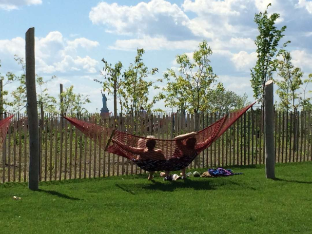 The Hammocks overlooking The Statue of Liberty give Governor's Island visitors a reminder of the origins of the island. Photo via fungur.com