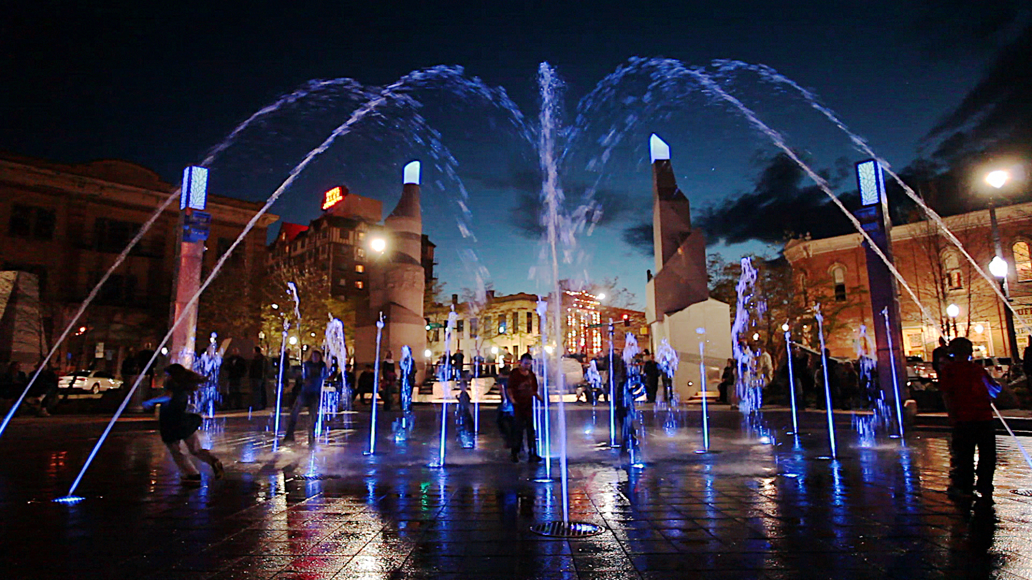 Main Street Square's interactive fountain comes to life after dark. Lights and choreographed water displays create a whimsical place for kids to enjoy.