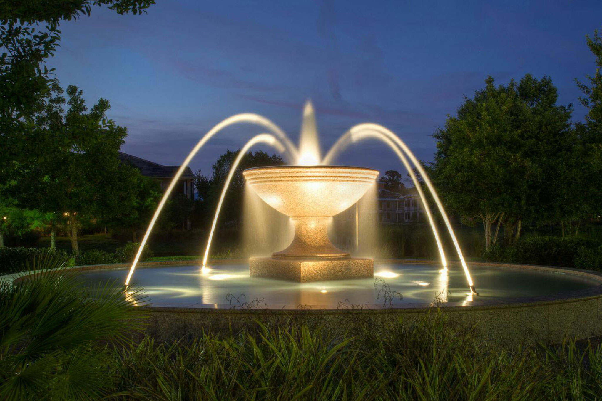 Fountains Lights at Night
