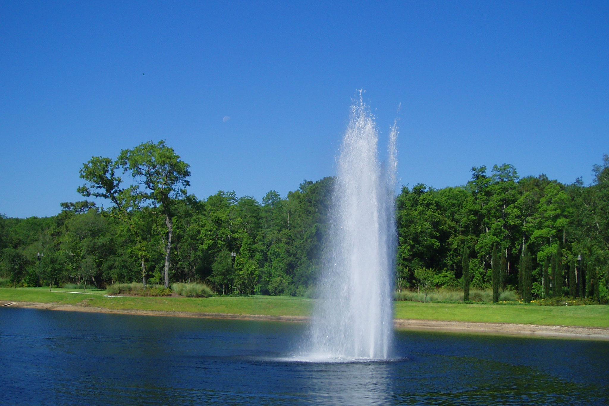 Geyser Nozzle Cluster Fountain In Pond