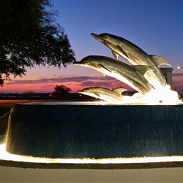 Gulf Shores Alabama Dolphin fountain with Lights |Delta Fountains